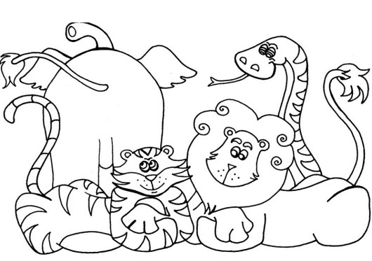 cute african animals coloring sheet - African Animals Coloring Pages