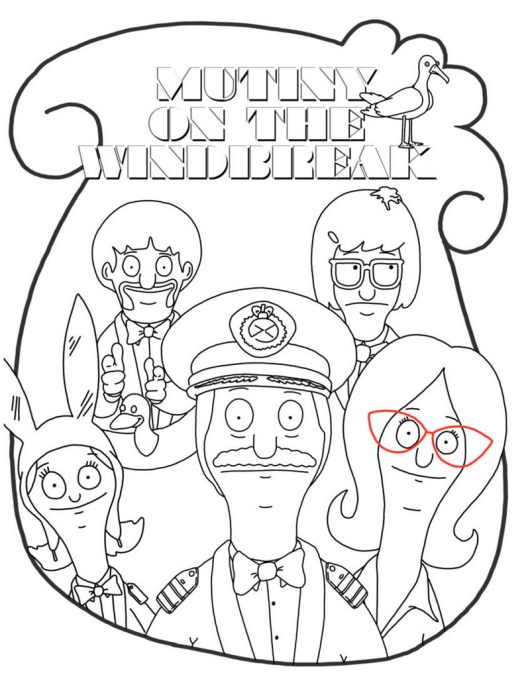printable bobs burgers coloring page