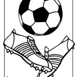 soccer ball and shoes coloring and drawing page