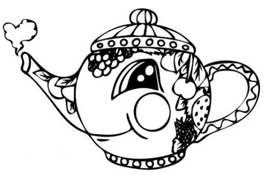 teapot coffee cup mug coloring page