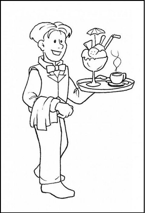 Waiter And Waitress Coloring Pages Coloring Pages