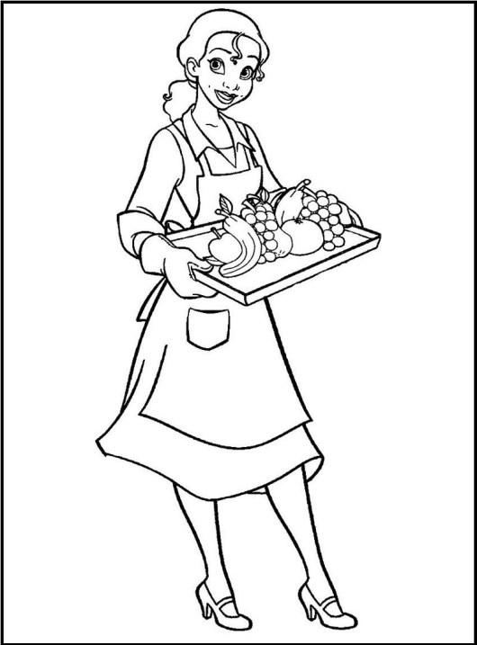 waitress profession coloring sheet