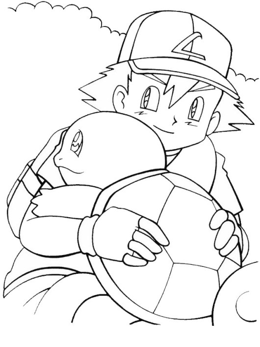 Ash and squirtle from pokemon coloring page