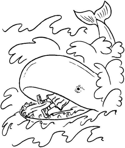 Jonah and the Big Whale Coloring Picture