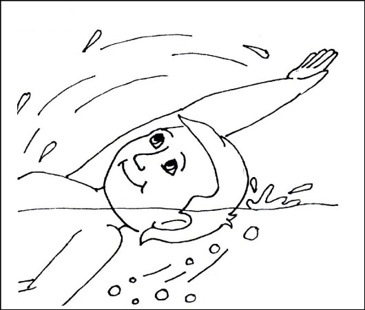 Kid Swimming Coloring Printable Pictures