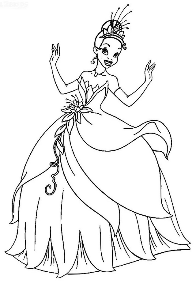 Miss Tiana Dancing Coloring Page