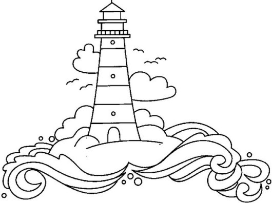 Top Lighthouse Coloring Page Illustration