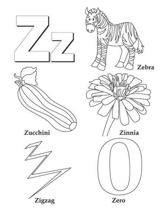 Z alphabet atoz coloring sheet