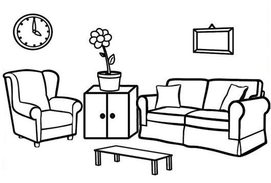 Living Room Furniture Coloring