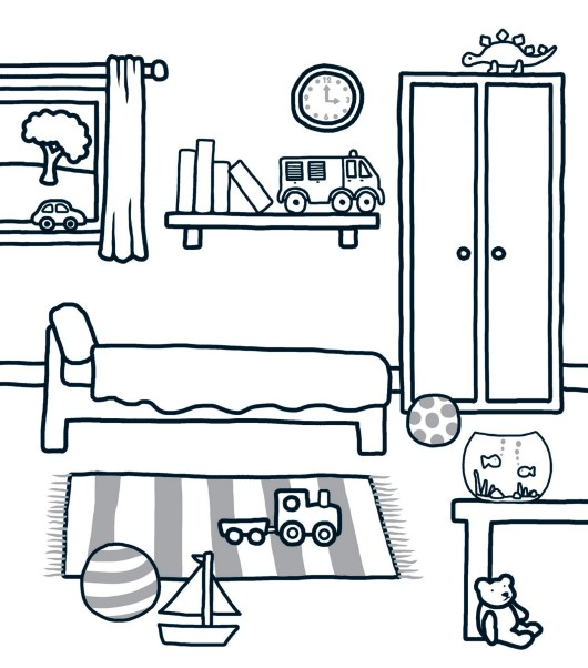 Beautiful And Modern Bedroom Coloring Pages