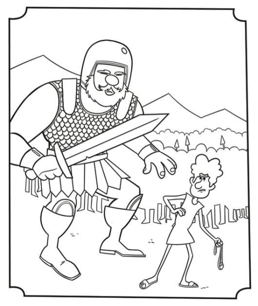 david versus goliath story coloring picture
