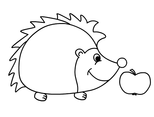 hedgehog and apple coloring sheet for little kids - Hedgehog Coloring Pages