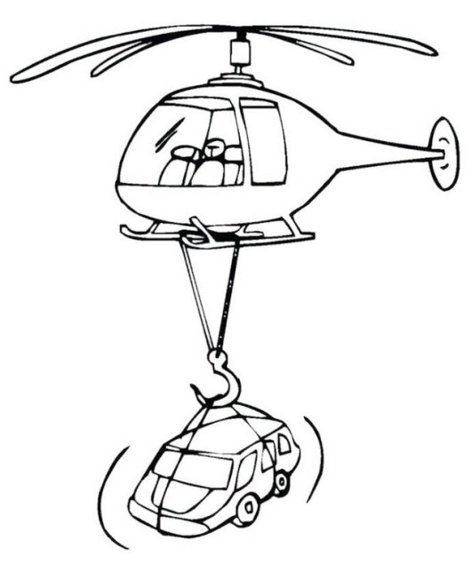 helicopter lifting car coloring pages