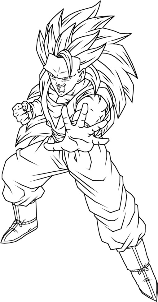 high detailed goku super saiyan coloring picture