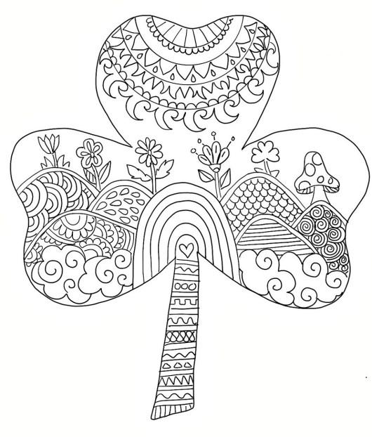 mandala shamrock coloring picture
