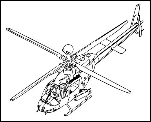 realistic helicopter coloring page design