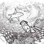 realistic scuba diving coloring page
