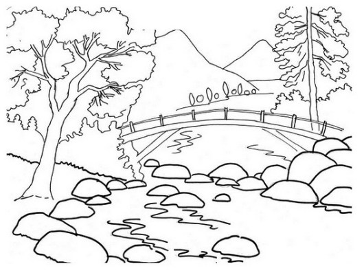river mountain coloring sheet for kids - Mountain Coloring Page