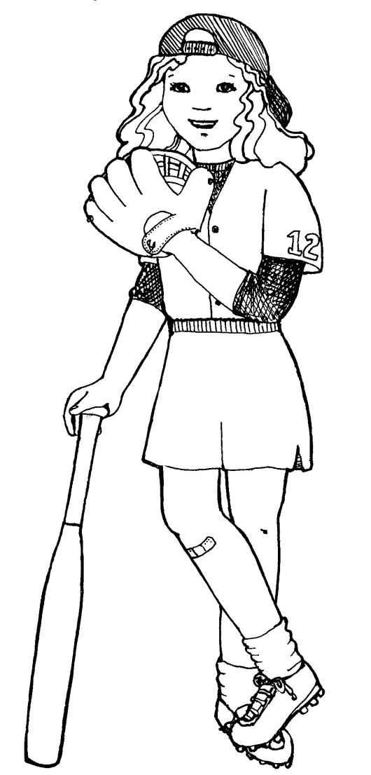 softball player and equipments to play coloring page