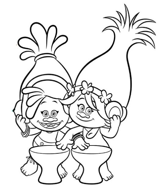 Cute Trolls Coloring Pages Bringing Positive Messages - Coloring Pages