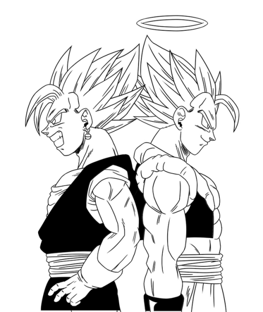 vegeta and goku feat coloring picture