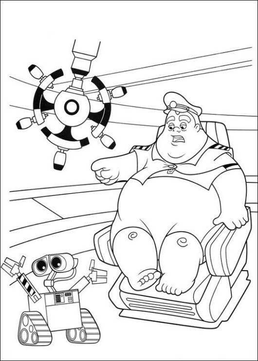 wall e and captain b mccrea coloring pictures