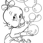 Baby playing bubbles coloring sheet