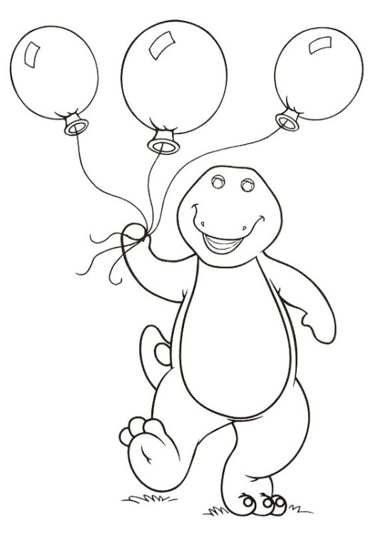 Barney holding balloons coloring and drawing page