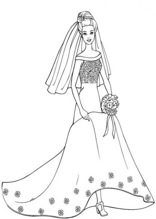 Beauty Barbie Bridal Dress Coloring Sheet