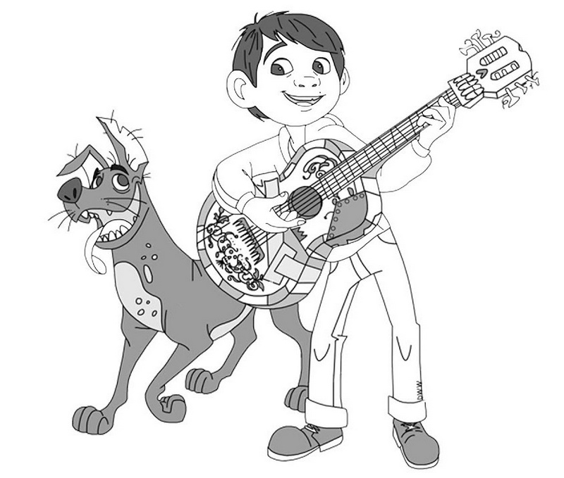 Best Miguel and Dante Coloring Coco Disney Picture for Children
