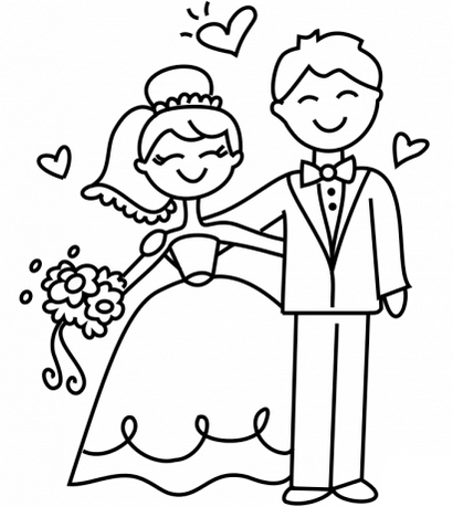 Happy and Fun Bride and Groom Printable Coloring Picture