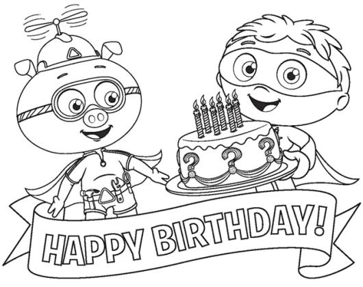 Happy birthday Cake Birthday Super Why Coloring Sheet