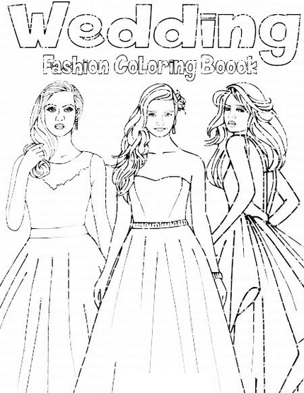 Wedding dress coloring and activity page drawing line art