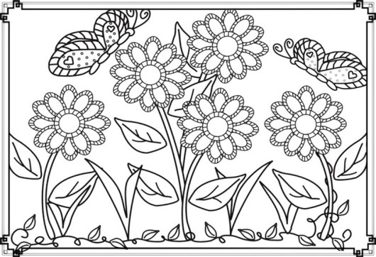 beautiful flower garden with butterfly coloring pages