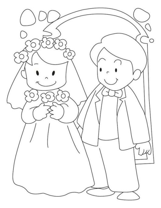 bride and groom celebrating wedding coloring sheet