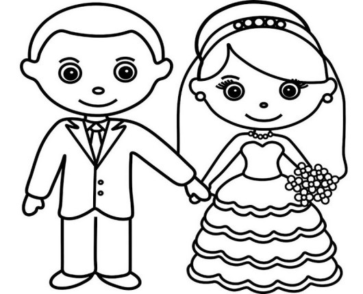 bride and groom coloring and drawing sheet