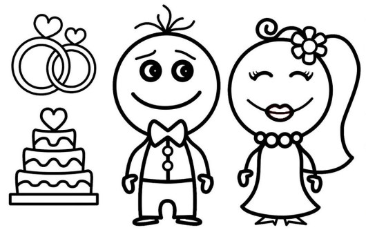 bride and groom wedding cake and wedding ring coloring sheet