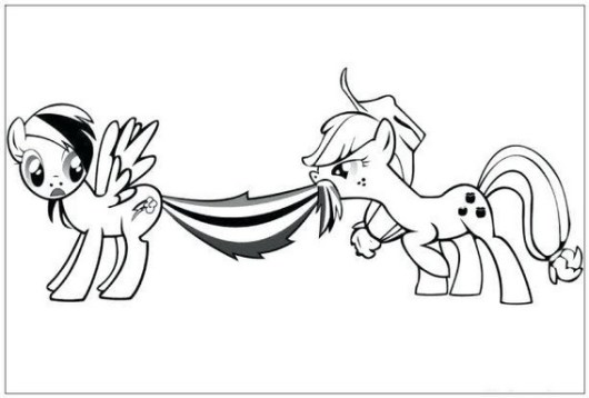 colorful and fun applejack and rainbow dash my little pony coloring sheet for small children