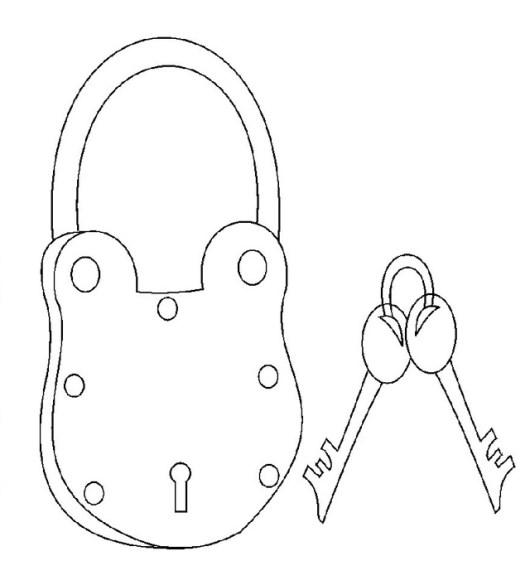 cute keys and lock coloring sheet