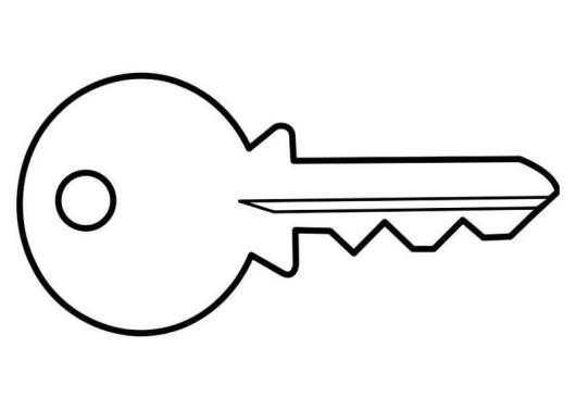lock and key coloring page - key coloring and activity sheet for kids