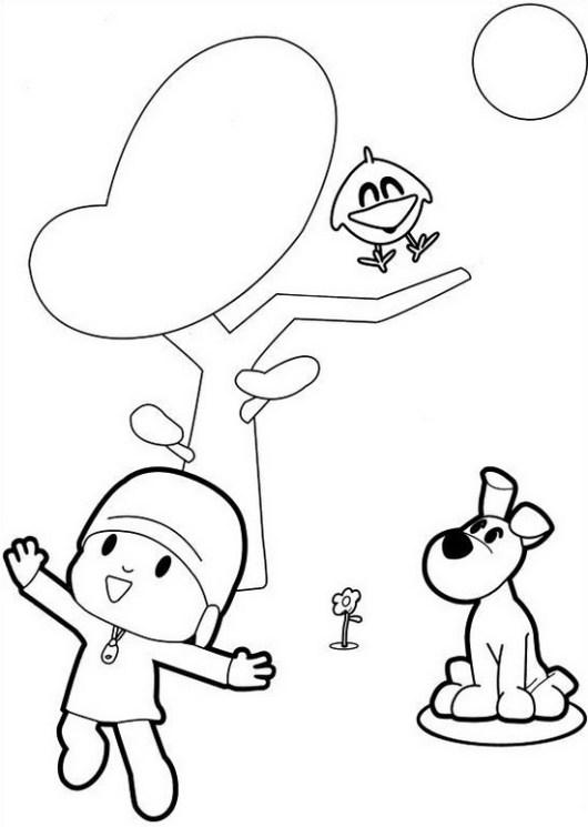 pocoyo cartoon coloring sheet for kids