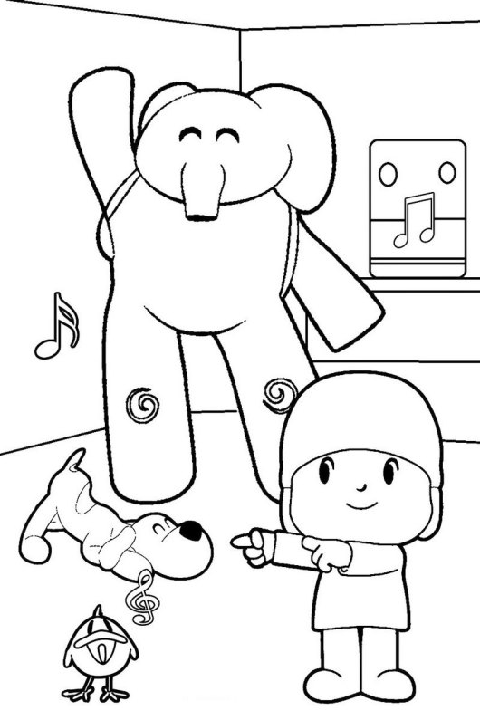 pocoyo funny games coloring picture