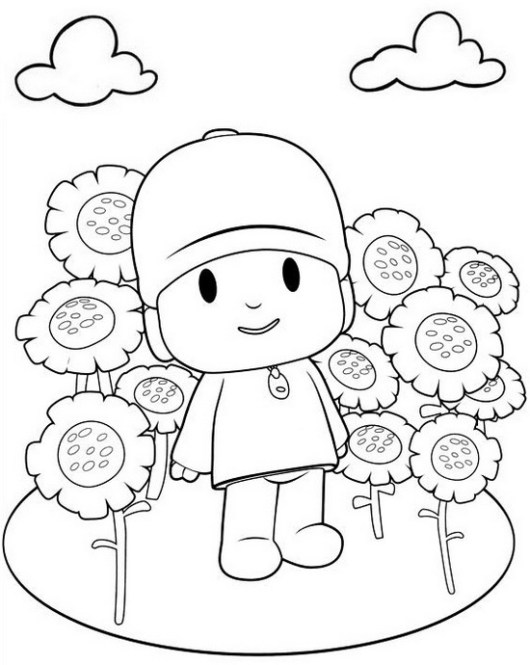 pocoyo in sunflower garden coloring page