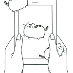 Kawaii Pusheen the Cat Smartphone Coloring Sheet