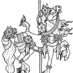 Very Detailed Gorgeous Decorated Carousel Horse Coloring Pictures