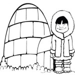 a cold girl in front of igloo coloring picture