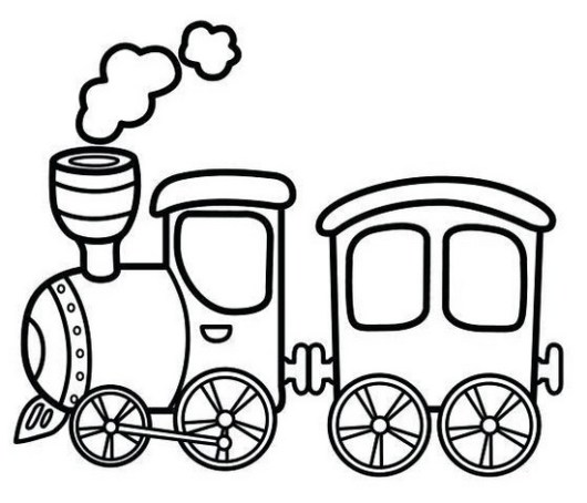 antique steam train cartoon coloring sheet online
