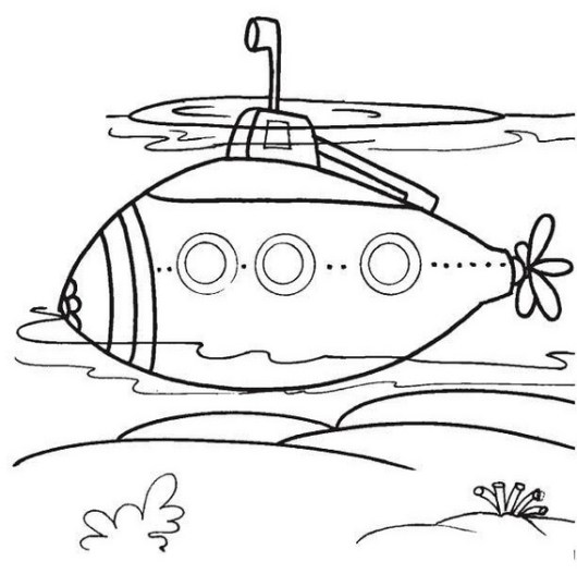 epic submarine underwater coloring sheet for kids
