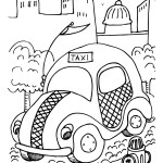 fun taxi coloring sheet for kids