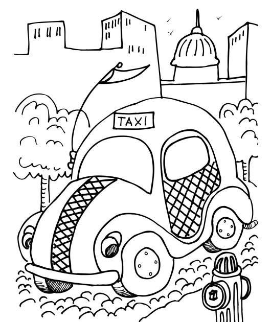 fun taxi coloring sheet for kids